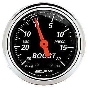 Auto Meter Designer Black Vacuum/Boost Gauge 2-1/16″ Mechanical