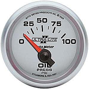 Auto Meter Ultra-Lite II Oil Pressure Gauge 2-1/16″ short sweep electrical