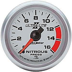 Auto Meter Ultra-Lite II Nitrous Pressure Gauge 2-1/16″ full sweep electrical